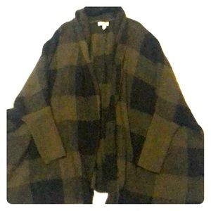 green and black checkered oversized cardigan